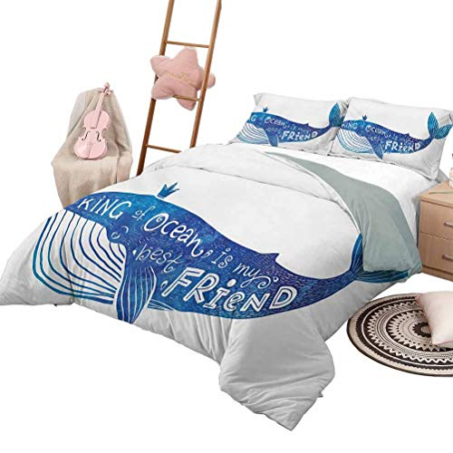 Daybed Quilt Set Whale Custom Bedding Machine Washable Kind of Ocean is My Best Friend Quote with Whale Fish Paintbrush Artsy Picture Queen Size Violet Blue White