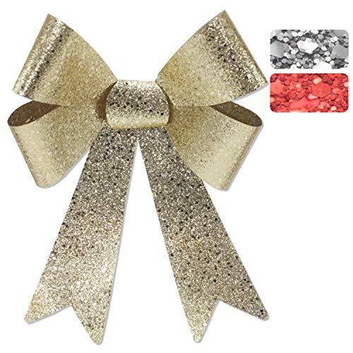 Glitzer-Geschenkschleife, 45x28x8cm, geeignet für Geschenke, Hochzeiten, Partys und als Dekoration (1x Gold (Groß), 45x28x8cm)