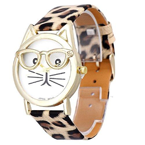 foopp Lovely relojes lindo gato gafas reloj de pulsera leopardo para las mujeres