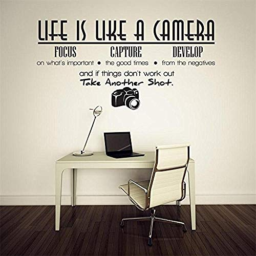 Wall Stickers,Life is a camera quote wall sticker home decoration photo vinyl adesivo de Parede home decoration bedroom wallpaper mural 35 * 68