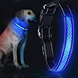 YoYabon LED Dog Collar 12.2-24.4' Rechargeable Lighted Dog Collar Adjustable 3 Flashing Modes 10 Hours Working Time Dog Safety Reflective Collar for Small Medium Large Dogs-L (Dog Collar-L)