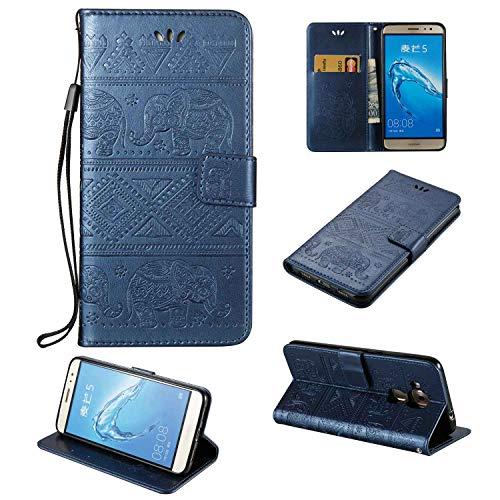 Ycloud PU Leder Tasche für Huawei Nova Plus (5.5zoll) Wallet Flip Case mit Stent-Funktions Kartenfächer Entwurf Elefant Geprägtes Muster Blau Hülle