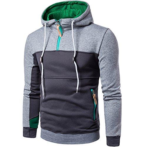 DAY.LIN Herren-Kapuzenpullover mit Colorblock Mode Patchwork Langarm Herren Pullover Mantel Stehkragen Pullover Outwear (Grau, EU54 /3XL)