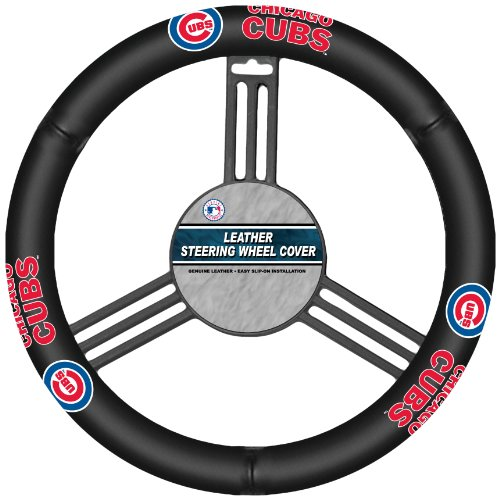 Fremont Die MLB Chicago Cubs Leather Steering Wheel Cover, Fits Most Steering Wheels, Black/Team...