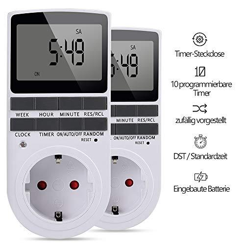Innoo Tech Intelligente Zeitschaltuhr Steckdose [2 Packs] [LCD-Display] [10 Gruppen von 24/7 programmierbaren EIN-AUS-Einstellungen ] [AC230V / 50Hz] [Maximallast 16A / 3680W] [Weiß]