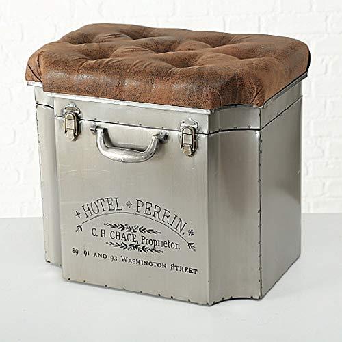 CasaJame Hocker als Truhe Eisen Box im Vintage Look Kolonial Kunstleder in Altlederoptik L52cm B37cm H47cm