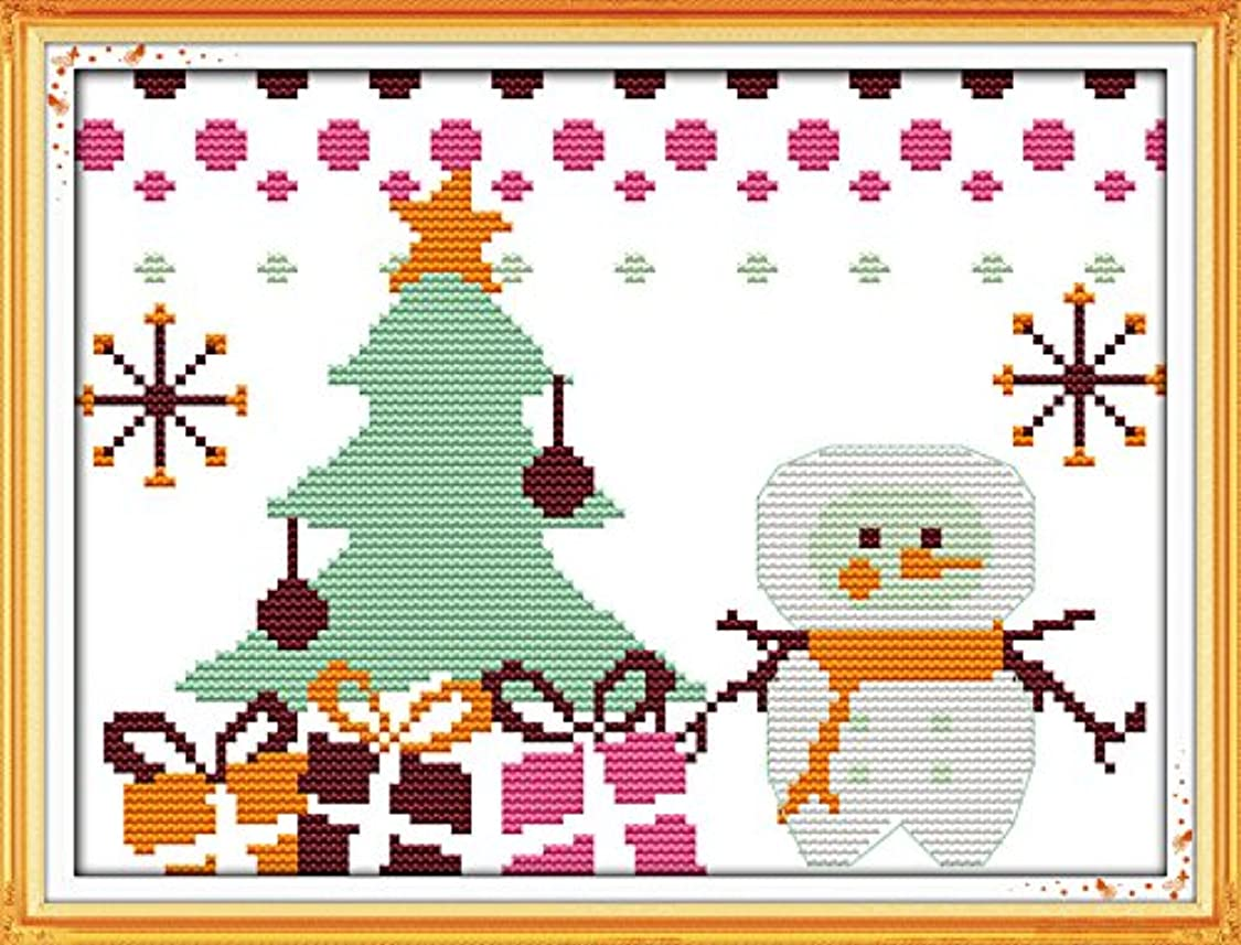 Queenlink 11CT Counted Cross Stitch Christmas Snowman #5 Diy Embroidery Kit Sewing cf16333507855930