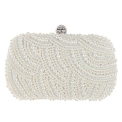 Tskybag Women's Hand Pearl Bag Ladies Gorgeous luxury Handmade Pearl Evening Clutch Handbag(B-White)