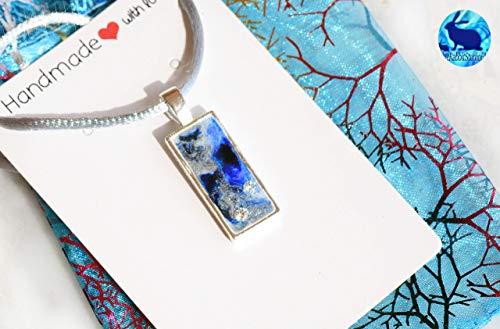 Collar boho mujer con 2 circonitas, Colgante de resina color azul y plata, Handmade Regalo perfecto Joyeria artesanal
