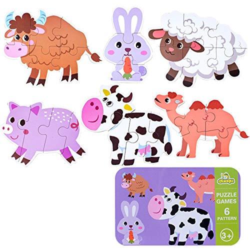 SGDD Puzzle de Madera, 6 Pack Rompecabezas Puzzle Juguetes Bebes para Niños de 1 2 3 4 5 Años Montessori Educativos Regalos 3D Patrón Puzles con Caja de Rompecabezas de Metal (Animal)