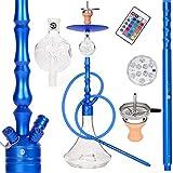 ORACLE HOOKAH Shisha Set Wasserpfeife Alu Shisha Blau Komplettset 90cm mit Zubehör wie LED Schlauch Kopf Alu Mundstück Molassefänger