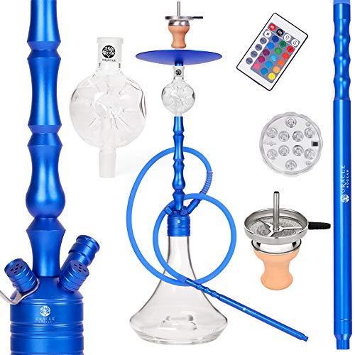 ORACLE HOOKAH® Shisha Set Wasserpfeife Alu Shisha Blau Komplettset 90cm mit Zubehör wie LED Schlauch Kopf Alu Mundstück Molassefänger