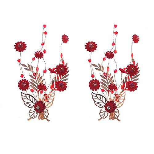 Rode Tiara Bruid Chinese Toast Service Hoofd Bloem Bruidsjurk Side Clip Sieraden Gouden Vlinder Headdress Haarspeld Gift