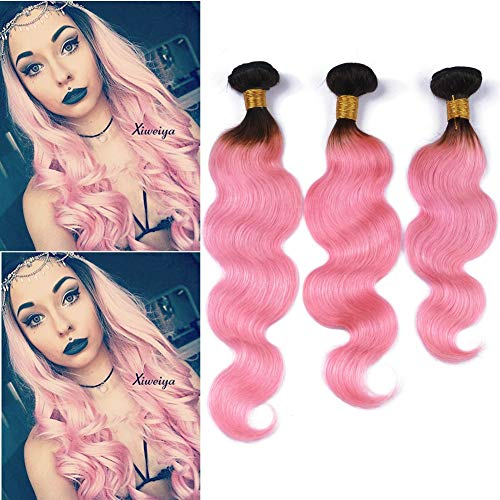 """#1B/Pink Ombre Body Wave Brazilian Virgin Human Hair 3 Bundles Double Wefted 300Gram Black to Pink Ombre Body Wavy Human Hair Weave Extensions 10-30"""" Mixed Length (22 24 24)"""