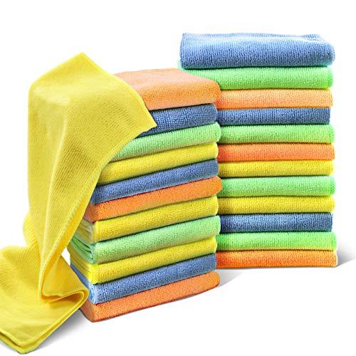 Confezione da 24 Pezzi Panni in Microfibra Set da Straccio per Pulire Super Assorbenti Panno per la Pulizia di Casa Cucina Auto,Lavabili in Lavatrice,40 x 30 cm, Colore: Multicolore Masthome