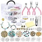 Jewelry Making Supplies PP OPOUNT Jewelry Making Kit Includes 19 Styles Beads, 8 Styles Findings, Pliers, Cutters, Tweezers, Bead Wire, Storage Case, Charms for Jewelry Necklace Bracelet Making Repair