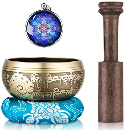 Tibetan Singing Bowl Set, Meditation Hand Hammered Sing Sound Bowls Gift for Yoga, Chakra Healing, Spiritual, Relaxation, Prayer and Mindfulness - 4'