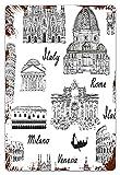 MIFSOIAVV Carteles de Metal Estilo de dibujo monocromático Lugares famosos de Italia Roma Milán Arquitectura europea imprimir Placa de la Pared Póster para Garage,Taller,Casa o Bar 20x30cm