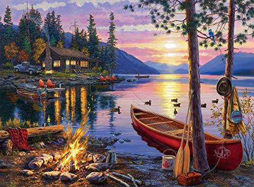 1,000-Piece Buffalo Games Jigsaw Puzzles: Canoe Lake, Coastal Twilight $10 each & More