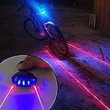 KORADA 5led+2laser Cycling Safety Bicycle Rear Lamp Waterproof Bike Laser Tail Light Headlight Warning Lamp Flashing (Blue)