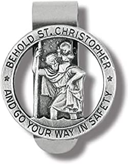 HIR Round Saint St Christopher Go Your Way in Saftey Proctection Visor Clip, 1 3/8 Inch (Dia)
