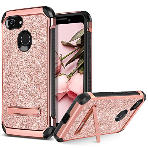 Google Pixel 3 Case, BENTOBEN Kickstand Design Slim 2 in 1 Heavy Duty Shockproof Hybrid Soft TPU Bumper Hard PC Cover with Bling Sparkly Glitter PU Faux Leather Protective Phone Cover, Rose Gold