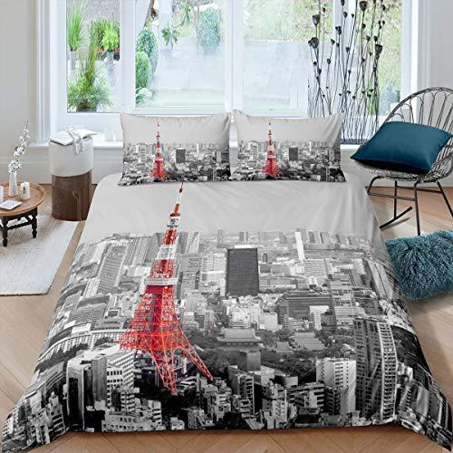 Juego de Cama Rojo Torre Eiffel 230x220cm Juego de Funda nórdica con Tema Elegante de París Juego de Cama Gris Vintage con Estampado de Paisaje Urbano de París de 3 Piezas