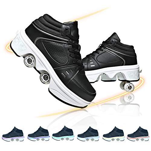 DADUDU Unisex Patines De Ruedas De Deformación LED Luces 7 Colores Brillante Patines Automática Calzado De Skating Aire Libre Y Deporte Gimnasia Running Zapatillas