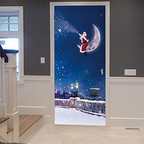 3D Mural para Puerta 77x200cm Autoadhesivo Impermeable Papel Pintado Puerta para Sala de Estar Baño Cocina Extraíble Vinilo Adhesivo de Pared,Decoración del Hogar - Noche de Navidad