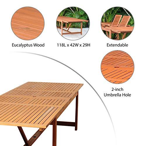 Brampton Tucson 9-Piece Outdoor Rectangular Dining Table Set | Dark Teak Finish | Ideal for Patio and Indoors