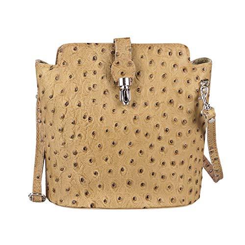 OBC Made in Italy Damen echt Leder Tasche Crossbody Strauß Vera Pelle Schmucktasche Umhängetasche Tasche City Bag Schultertasche (Taupe)