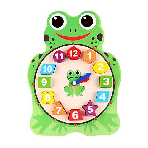Demarkt Lernuhr aus Holz Lerntafel zum Lernen von Datum Kinder Kalender Lernuhr Spielzeug,Eule,Frosch