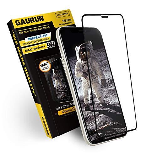 [GAURUN ガウラン] iPhone 12 Mini (5.4インチ) 用 ガラスフィルム (1枚入り) [ガイドツール付] 日本製旭硝子採用 硬度9H フルカバー 傷防止 指紋防止 耐衝撃 強化ガラス 液晶保護フィルム シート 4D プライムネット
