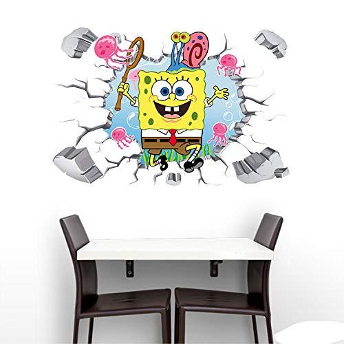 MXLYR Wandtattoo 3D SpongeBob Wandkunst Aufkleber Aufkleber Dekoration Vinyl Poster Wandbild Tapete Abnehmbare benutzerdefinierte Diy Kinder Geschenk