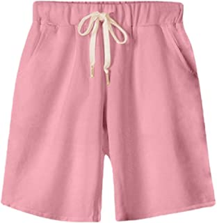 Ptyhk RG Womens Active Bermuda Summer Pure Color Casual Straight-Leg Plus-Size Shorts