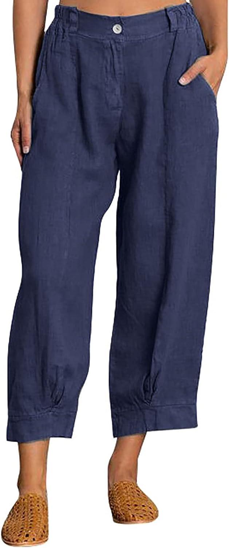 HULKAY Womens Casual Loose Pants Comfy Cropped Work Pants with Pockets Elastic High Waist Paper Bag Pants