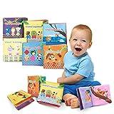 6 Libro Stoffa per Neonati| Colori Vivaci, Lavabile, Tessuto Morbido | Non Tossico Stoffa Morbida per lo Sviluppo Intellettuale del Bambino | Regalo Compleanno per Bambini
