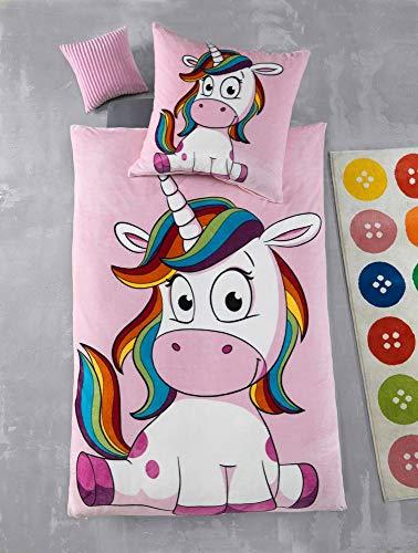 Kuscheli® Cashmere Touch Plüsch Kinderbettwäsche Mädchen Einhorn Kinder Bettwäsche Winter Fleece Set Kissenbezug rosa pink Pferde, Größe:135x200 + 80x80