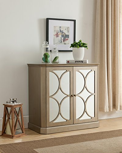 Kings Brand FURNITURE Gold Finish Buffet Server Cabinet / Console Table, Mirrored Doors