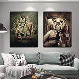 Perro Fumando Un Cigarro Lienzo Art Poster E Impresiones Animal Bulldog Cuadros Arte De Pared De Perro Divertido para La Decoracion De La Salon De Estar del Hogar 40x50cmx2 Sin Marco