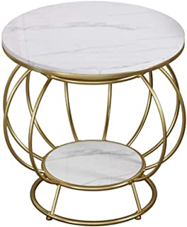 Lcxliga Living Room Furniture Metal Nordic 2-Tier Marble Side Table Coffee Table, Simple Creative Iron Round Table