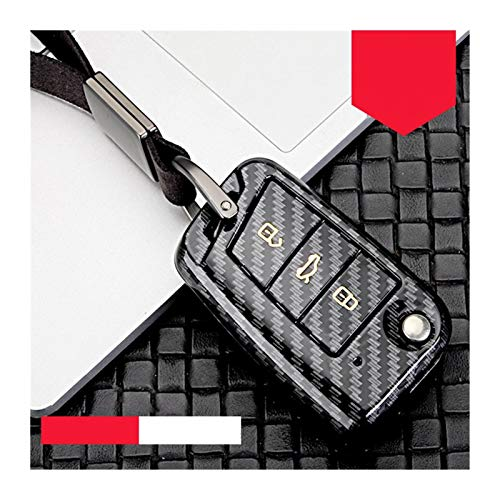Without Llavero ABS Shell Car Key Funda, Adecuada para VW Golf Bora Jetta Polo Golf Passat Skoda Octevia A5 Fabia Seat Leon Golf-7 Tiguan-L Llavero (Color Name : B Black Gold)