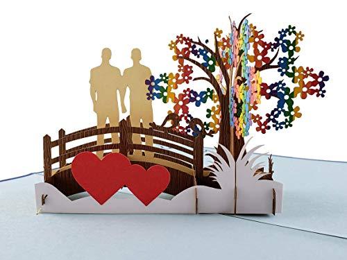 iGifts And Cards 3D-Pop-Up-Grußkarte für Schwulenpaare, für Hochzeit, Verlobung, Jahrestag, halbgefaltet, romantisch, Stolz, Liebhaber, Männer, Bräutigam, Ehemänner, LGBT, Regenbogen, Happy