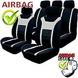 Akhan SB201 coprisedile Set Completo di coprisedili Nero Grigio con ad airbag Laterale
