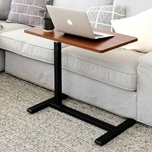 [山善]昇降式サイドテーブル高さ60-95㎝4cmの隙間に入る低床キャスターガス圧昇降無段階高さ調節幅70cmベッドテーブルPCテーブル組立品ウォルナットKUT-7040(WL/BK)在宅勤務