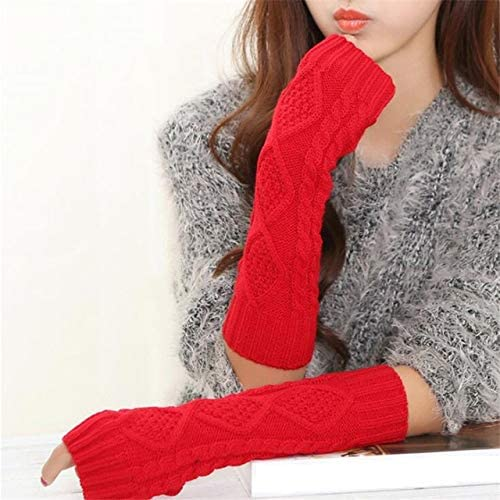 Women Warm Diamond Winter Gloves Mittens Unisex Fashion Arm Warmers Sleeves Gloves to Winter for Woman - (Color: G141 Big red, Gloves Size: 30cm)