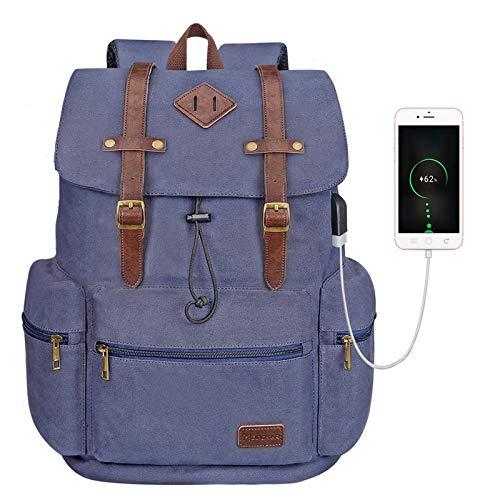 Modoker Vintage Rucksack Backpack for Women Men, Canvas Backpack Vintage College School Bookbag with USB Charging Port Fashion Vegan Leather Daypack Fits 16 Inch Notebook, Blue
