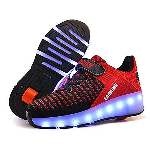 XJBHD Zapatos con Ruedas Zapatillas con Ruedas USB Recargable Unisex Led Luz Automática de Skate Zapatillas con Ruedas Zapatos Patines Deportes Zapatos para Niños Niñas