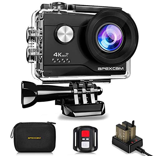 Apexcam 4K WiFi Action Cam 20MP Ultra HD Action Camera Impermeabile Sott'acqua 40M 2' Sports Cam 2.4G Telecomando 170° Grandangolare con 2x1050mAh Bat