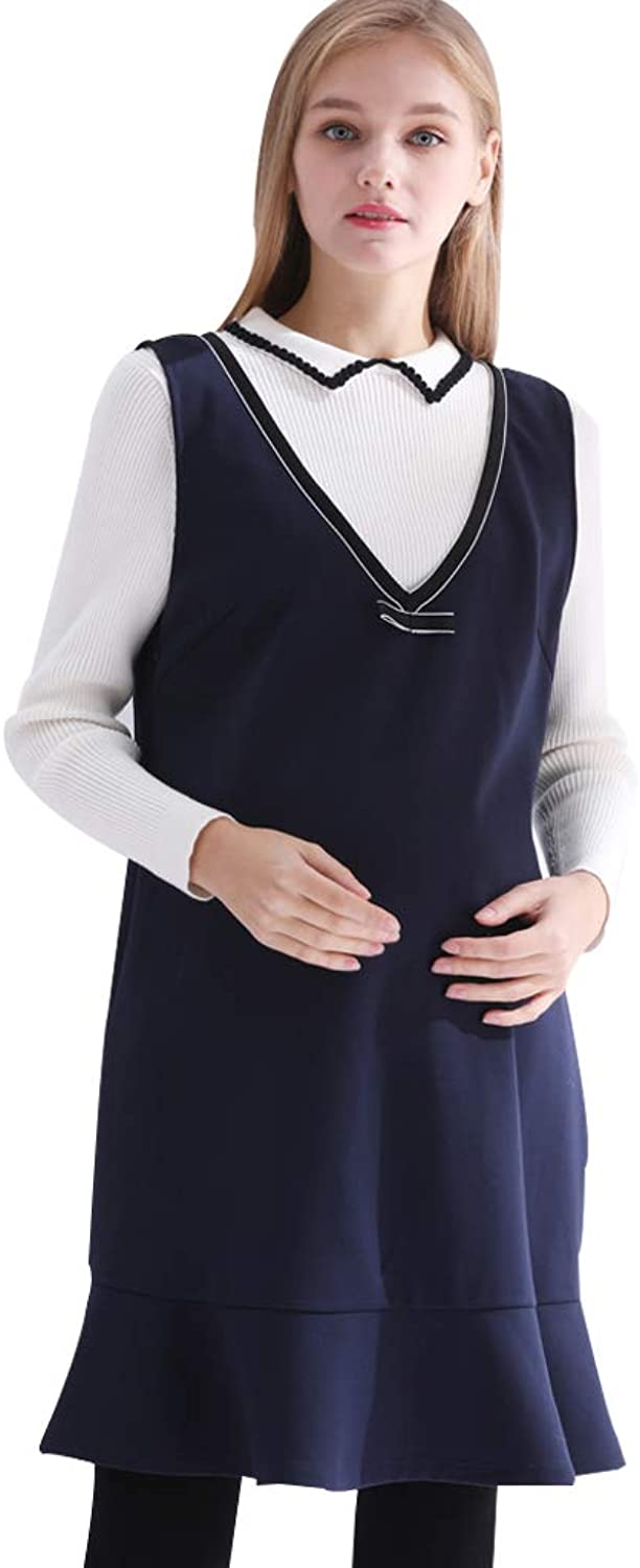 Maternity Clothes Commuting Dress Class Solid color Midi Skirt Sleeveless Breastfeeding Clothes Soft and Snug Pregnant Women Gift (color   Dark bluee, Size   L)